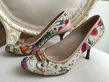 Pumps Gucci Flora Horsebit Leinen Leder Schuhe bunt Canvas Blumen Gr. 37 C 37,5