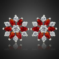 New! Fashion Jewelry Marquise Cut Red Ruby 18K White Gold Plated Lady Earrings