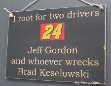 Jeff Gordon wrecks Brad Keselowski Driver Sign Racing Bar Man Cave Ticket Rare