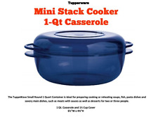 Tupperware Tupperwave Mini Stack Cooker Microwave 1 qt Base and Lid Blue New