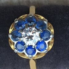 Dress Ring - with Blue Sapphire & Diamond Cluster Head - Est. Size R