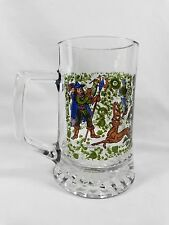 Germany Glass Stein Mug HUNTING WITH HOUNDS Spear Deer Lady Man Made in Italy