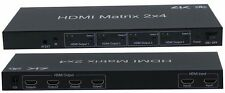 HDMI 2x4 MATRIX W/IR REMOTE CONTROL EXTENSION AUDIO OUT SPLITTER SWITCH 2IN/4OUT
