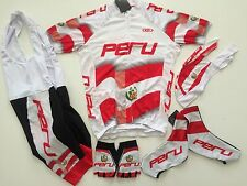 New size 2XL - PERU Team Peruvian Cycling Flag Bike Set Jersey Bib Shorts Gloves