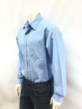 L.L. Bean Men's Cotton Dress Shirt 17.5 X 36 Blue Single Needle Tailoring