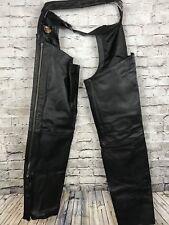 Harley Davidson Men's LINED Black Zip & Snap Sides Leather Chaps Mens Biker Moto