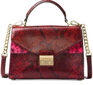 New Michael Kors Sloan Medium Top Handle Satchel lock Glossy Snake  bag red bag