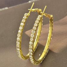 9k solid gold filled Around Cubic Zirconia Ladies Hoop Earrings 46*3mm F4548