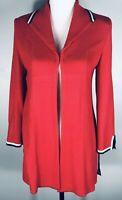 Ming Wang Women's Cardigan Open Front Sweater Red Jacket Blazer Sz S long Sleeve