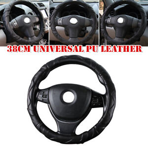 38CM Universal PU Leatherwear Non-slip Car Steering Wheel Comfortable Cover Kit
