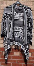 Seleccione blanco negro tejido con flecos Borla Jumper Cardigan Cape Abrigo M 12