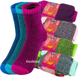 Lot 3-12 Pairs Womens Winter Thermal Heated Heavy Duty Warm Crew Socks Sox 9-11