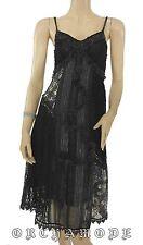 Robe dentelle Vintage FOR HER noir volant Fête T. L / XL  40 / 42 NEUF Bretell