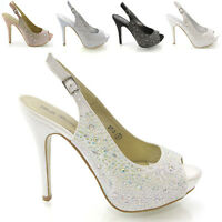 Ladies Diamante Sandals Womens Dressy Peep Toe Heels Wedding Prom Bridal Size