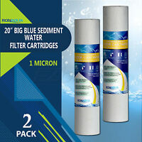 "Big Blue Sediment Replacement Water Filters 1 Micron 4.5"" x 20"" Set of 2"