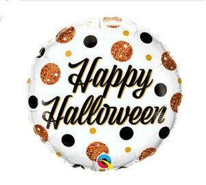 Happy Halloween Sparkly Dots Qualatex 18 Inch Foil Balloon Party Decoration
