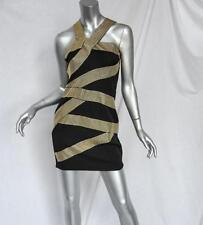 ROBERT RODRIGUEZ Womens Black Gold-Studded Bondage-Striped Short-Mini Dress XS