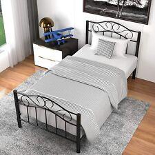 Twin XL Curved Metal Bed Frame Platform w/ Headboard Footboard Bedroom Furniture