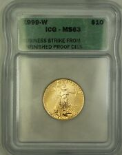 1999-W Emergency Issue $10 Gold Eagle Coin ICG MS-63 Unfinished PR Dies