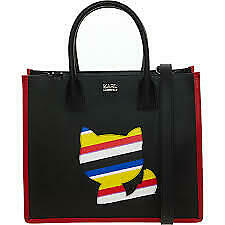 KARL LAGERFELD Black Striped Cat Shopper Bag RRP £265