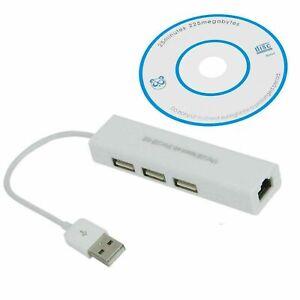 3 Port USB 2.0 Hub To RJ45 LAN Ethernet Network Adapter Cable 1000mbps Gigabit