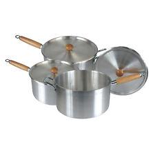 Wooden Handle Aluminium Kitchen Cooking Pan Saucepan Pot 3 pcs Value Cookware