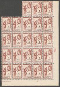 AOP Malaya SARAWAK QEII 1955-59 4c Kayan Dancing block of 23 MNH SG 190