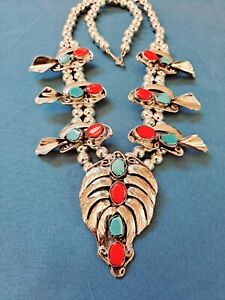 Huge Coral/Turqoise Squash Blossom Necklace /w Large Naja!