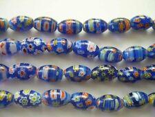 Millefiori glass rice beads 8X12mm Dark Blue