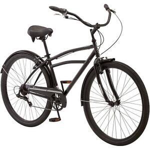 "Mens 29"" Midway Cruiser Bike Steel Frame Comfort Ride, 7 Speeds Bicycle Black"