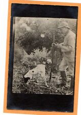 Real Photo Postcard RPPC - Hunting Hunter and Dog with Game in Mouth