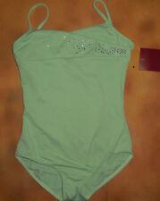NWT Dance Mirella Green Cami Leotard Mock Wrap Diamante Med Child 8-10 M235C