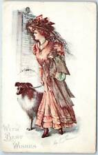 "Vintage Greetings Postcard Pretty Lady / Collie Dog ""With Best Wishes"" 1942"