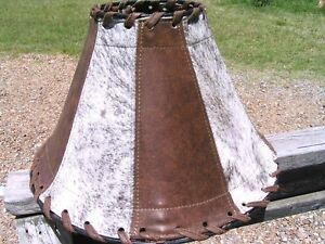 Western Lamp Shade, Leather and Cowhide 0973