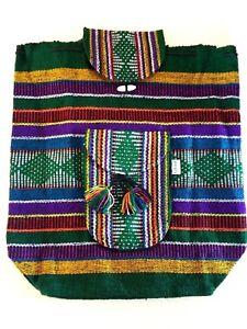 Mexican Backpack Handmade Bag Tote Green Blanket Boho Hippie Morral