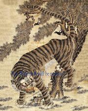 Korean Art Minhwa 민화 Tiger & magpie 8x10 Printed on Cotton Art Paper Matted fa7