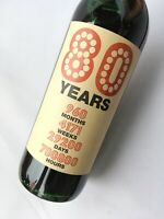 80th Birthday Kraft Wine Bottle Label Gift, 80 Years in Time, months days weeks