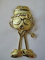 VINTAGE SIGNED AJC GOLD TONE ARTICULATED NURSE'S PIN BROOCH