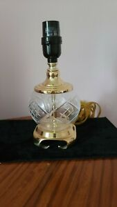 VinTG  Waterford lENOX STYLE Crystal ETCHED Lamp i SOLID  Brass Base VASE CAP