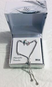Brand New Kohls Multicolor Crystal Unicorn Adjustable Bracelet Silver Tone $50