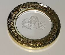 Egypt Gold See Through Sphinx Glass Coin Pyramid History Cairo Nile Africa Retro