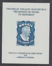 Brazil C76a Mnh. 1949 3.80r Fdr Memorial Souvenir Sheet. watermarked, fresh, Vf