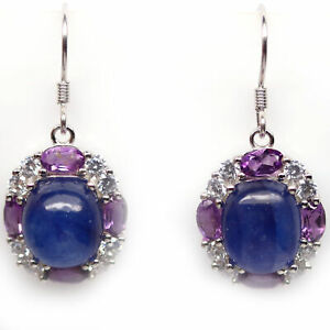NATURAL 9 X 10 mm. BLUE SAPPHIRE, AMETHYST & CZ 925 STERLING SILVER EARRINGS