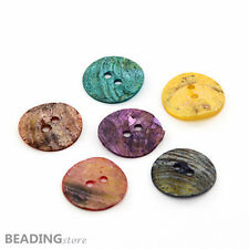 144pcs Mixed Color Dyed Flat Round Mother of Pearl Shell Sewing Buttons 15x1mm