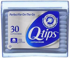 Q-tips Cotton Swabs 30 Count On-The-Go Travel Size Purse Pack