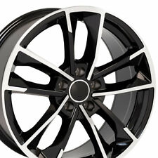 "18"" Wheels Black Machined For Audi A3 A4 A5 A6 18X8.0 +35 5X112 Set of (4) Rims"