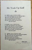 RILEY SCOTT 'He Took Up Golf' Autograph, Hand-Signed Poem