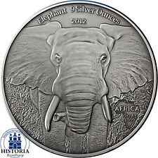 África serie: gabón 10000 francos CFA 2012 Antique Finish elefante 9 Silver ounces