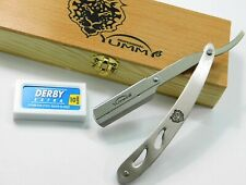 YZ-19 NEW SILVER BARBER SALON STRAIGHT CUT THROAT WET SHAVING RAZOR W/FREE BLADE
