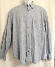 Austin Clothing Co Sz Large Blue Cotton Windowpane Shirt Button Down Long Sleeve